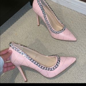 Nwot Pink Silver Chain Shoes Size 8
